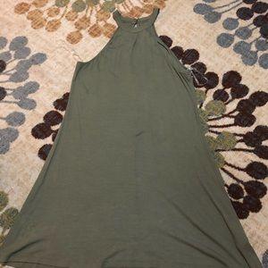 High Neck Army Green Dress